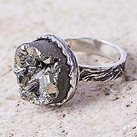 Pyrite cocktail ring, 'Petrified Forest' - Artisan Crafted Sterling Silver Ring with Natural Pyrite
