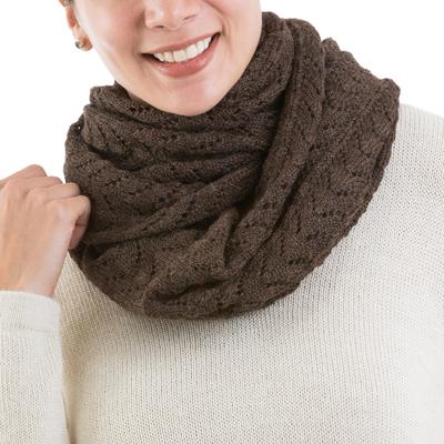 100% alpaca infinity scarf, 'Infinitely Brown' - 100% Baby Alpaca Extra Long Chevron Patterned Unisex Infinit