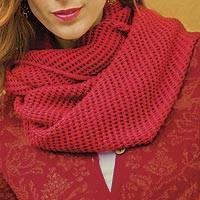 100% baby alpaca infinity scarf, 'Crimson Honeycomb' - Peruvian Alpaca Wool Infinity Scarf Knitted in Red