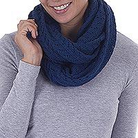 100% alpaca infinity scarf, 'Infinitely Blue'