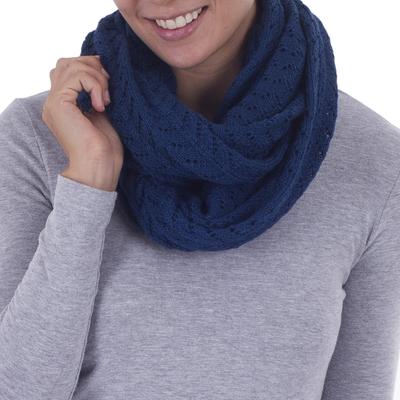100% alpaca infinity scarf, 'Infinitely Blue' - Alpaca Wool Blue Infinity Scarf Knitted in Peru