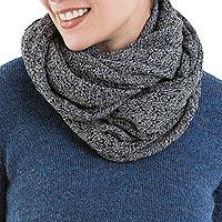 100% alpaca infinity scarf, 'Infinitely Grey'