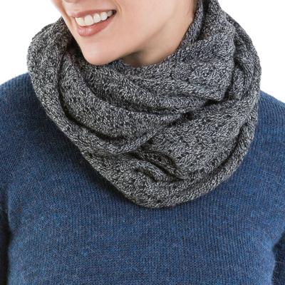 100% alpaca infinity scarf, 'Infinitely Grey' - 100% Baby Alpaca Extra Long Chevron Patterned Unisex Infinit