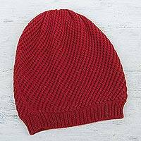 100% alpaca hat, 'Crimson Honeycomb' - Trendy and Warm Red Alpaca Wool Hat Knitted in Peru