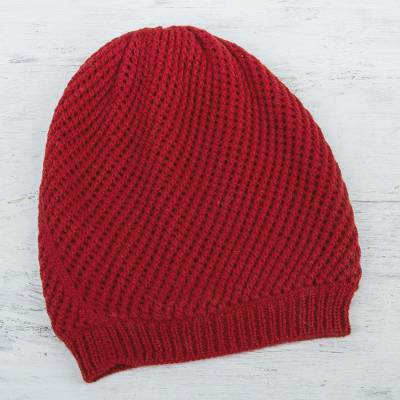 100% alpaca hat, 'Crimson Honeycomb' - Trendy and Warm Red Alpaca Wool Hat Knitted in Peru
