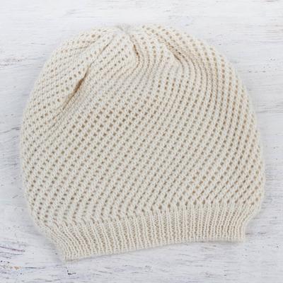 100% alpaca hat, 'Ivory Honeycomb' - Trendy Alpaca Wool Hat in Ivory White Knitted in Peru