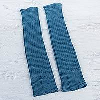 100% alpaca leg warmers, 'Blue Winter Dancer' - Blue 100% Alpaca Leg Warmers Knitted in Peru