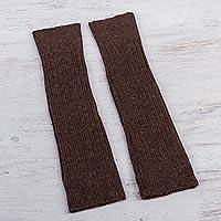100% alpaca leg warmers, 'Brown Winter Dancer' - Brown Leg Warmers Knitted in Peruvian Alpaca Wool