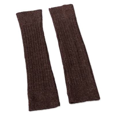 100% alpaca leg warmers, 'Brown Winter Dancer' - Brown Leg Warmers Knitted in Peruvian Alpaca Wool