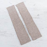 100% alpaca leg warmers, 'Beige Winter Dancer' - 100% Baby Alpaca Ribbed Leg Warmers and Boot Toppers in Deep