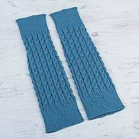 100% alpaca leg warmers, 'Blue Travels' - 100% Baby Alpaca Cable Ribbed Leg Warmers and Boot Toppers i