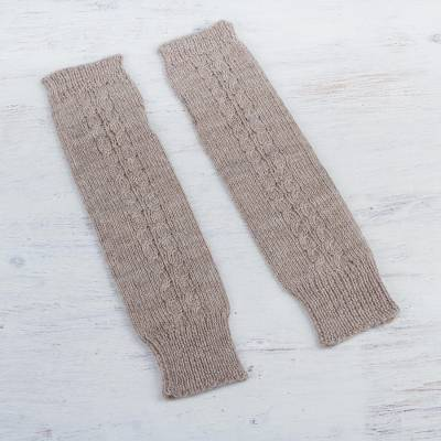 100% alpaca arm warmers, 'Beige Stories' - Arm Warmers Knitted in Beige Alpaca Wool from Peru