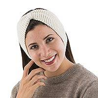 100% alpaca ear warmer, 'Ivory Bow' - Knitted 100% Alpaca Wool Ear Warmer in Ivory Color from Peru