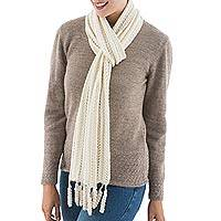 100% alpaca scarf, 'Wintry Warmth' - 100% Alpaca Scarf Soft Ivory Color from Peru
