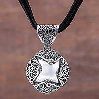 Sterling silver and leather pendant necklace, 'Aguaymanto' - Artisan Crafted Sterling Silver Inca Berry Leather Necklace