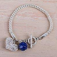 Sodalite charm bracelet, 'Charming Heart' - Peruvian Artisan Crafted 925 Sterling Silver Bracelet with F