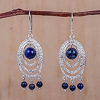 Sodalite chandelier earrings, 'Andean Caprice' - Peru Sterling Silver Chandelier Earrings with Sodalite Gems