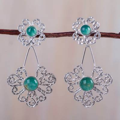 Sterling Silver Andean Opal Earrings