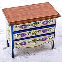 Recycled wood jewelry box, 'Vintage Blossoms' - Artisan Crafted Recycled Wood Jewelry Box with Drawers
