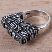 Silver ring, 'Basketry' - Modern Basket Design on 950 Silver Cocktail Ring from Peru