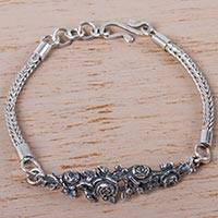 Silver flower bracelet, 'Bed of Roses' - Antiqued Roses on Silver 950 Chain Bracelet from Peru
