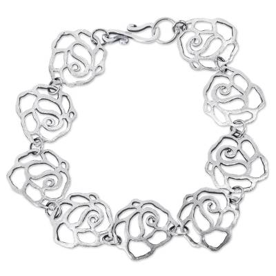 Handcrafted Sterling Silver Cutout Rose Link Bracelet from Peru