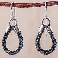 Silver dangle earrings, 'Looped Lasso' - 950 Silver Hook Earrings Artisan Crafted Jewelry from Peru
