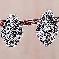Silver button earrings, 'Old World Glam' - Artisan Crafted Vintage Style Silver 950 Button Earrings