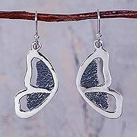 Sterling silver dangle earrings, 'Mariposas' - Hand Crafted Sterling Silver Butterfly Earrings from Peru