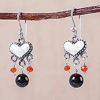Fire opal and onyx dangle earrings, 'Corazoncitos' - Handmade Fire Opal and Onyx Dangle Earrings with Heart Motif