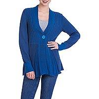 Alpaca blend long cardigan, 'Queen of the Blues' - Andean Alpaca Blend Women's Long Blue Cardigan Sweater