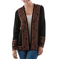 Alpaca blend jacket, 'Cinnamon Leaf' - Brown and Black Alpaca Blend Women's Knitted Jacket