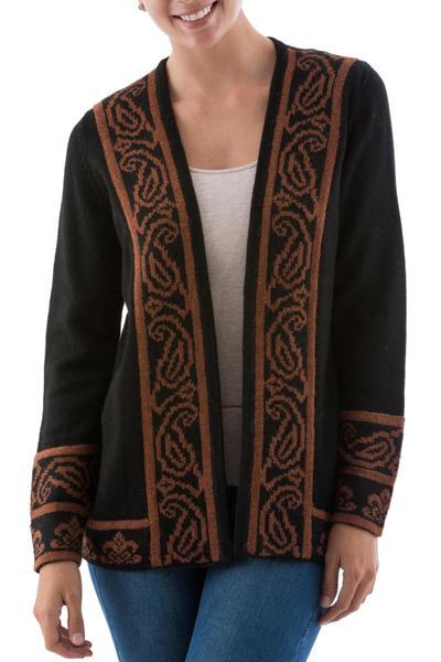 Alpaca blend jacket, 'Cinnamon Leaf' - Brown and Black Alpaca Blend Women's Knitted Jacket