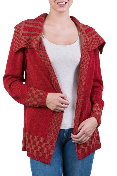 Alpaca blend cardigan, 'Enchanted Crimson' - Alpaca Blend Women's Red and Beige Open Cardigan