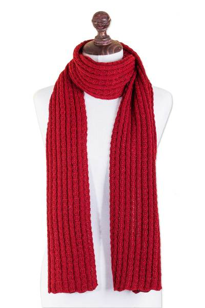26c3b116c2e Red Alpaca Blend Ribbed Knit Scarf from Peru - Scarlet Braids