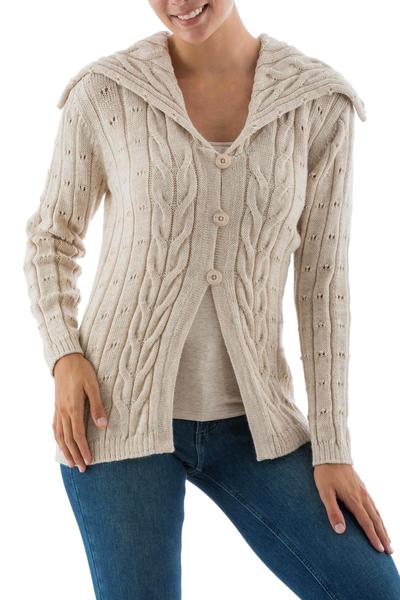 Alpaca Blend Women s Beige Cardigan Sweater with a Collar - Lady in ... 322f518fc