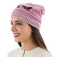 Alpaca blend hat, 'Condor in Rose' - Pink and Beige Alpaca Blend Hat with Birds