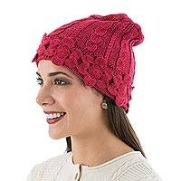 Alpaca blend hat, 'Strawberry Blossom' - Peruvian Knit Alpaca Blend Floral Hat in Strawberry Pink