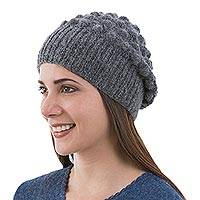 Alpaca hat, 'Grey Bubbles' - Grey Alpaca Hat Original Design Knit by Hand in Peru