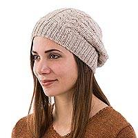 Alpaca hat, 'Desert Braids' - Hand Knit Beige Braided Alpaca Hat Peruvian Accessories