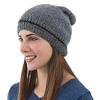 Alpaca hat, 'Minimalist by Design' - Mottled Grey Alpaca Hat Beanie Knit by Hand in Peru