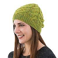 Alpaca hat, 'Coconut Green' - Mottled Green Alpaca Hat Beanie Knit by Hand in Peru