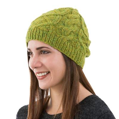 Mottled Green Alpaca Hat Beanie Knit by Hand in Peru
