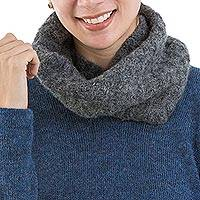 Alpaca blend neck warmer, 'Grey Bubbles' - Hand Knit Alpaca Grey Neck Warmer with Bubble Textures