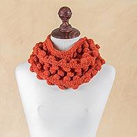 Alpaca neck warmer, 'Bubbling Orange' - Hand Knit Alpaca Orange Neck Warmer with Tiered Bubbles