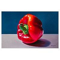 'A Message of Flavor' - Peruvian Oil on Canvas Painting of a Red Pepper