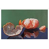 'Fresh Flavor of Nectar' - Original Signed Peruvian Fine Art Painting of Citrus Fruit