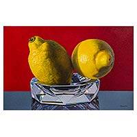 'Song of Crystal' - Signed Original Still Life Painting of Yellow Lemons