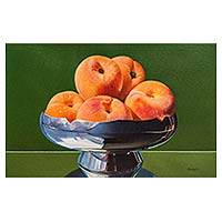 'Cradle of Silver' - Original Still Life Painting of Peaches in a Silver Bowl