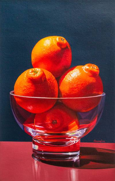 'Unique Beauty' - Original Signed Still Life with Fruit and Crystal